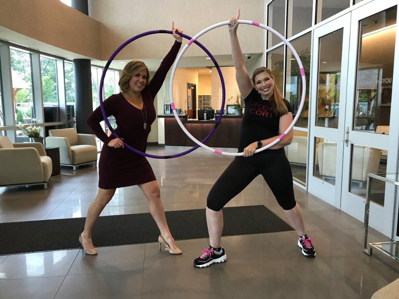 Cori Magnott and Heidi Voight doing warrior pose